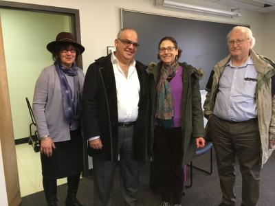 Photo of Professor Tamar Rudavsky, Ruby Namdar, and Professors Adena Tanenbaum, and Joseph Galron
